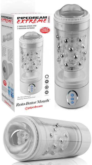 Extreme Roto Bator Mouth Masturbator Clear 9.5 Inch